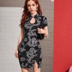 Dresses & Skirts - Mandarin Cheongsam Dragon Print Bodycon Dress
